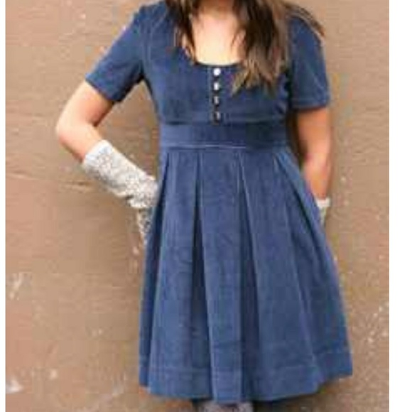 f274bdda93 Anthropologie Dresses   Skirts - TULLE Blue Pleated Corduroy Dress Button  Bodice